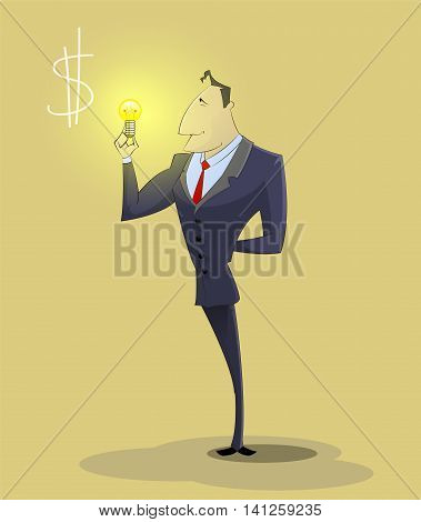 Cartoon big idea concept with light bulb. Symbol of having ideas with businessman character holding light bulb. Vector