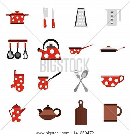 Flat kitchen tools icons set. Universal kitchen tools icons to use for web and mobile UI, set of basic kitchen tools elements isolated vector illustration