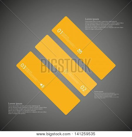 Rhombus Illustration Template Consists Of Three Orange Parts On Dark Background