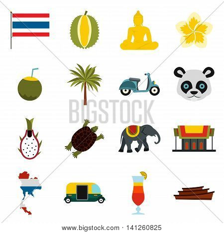 Flat Thailand icons set. Universal Thailand icons to use for web and mobile UI, set of basic Thailand elements isolated vector illustration
