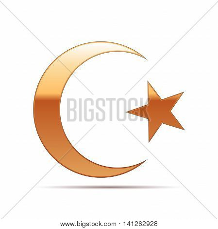 Gold Islam symbol icon on white background. Vector Illustration