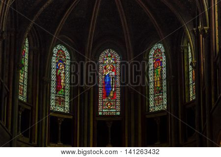PARIS FRANCE - MAY 12 2015: These are stained glasses of the church of Saint-Germain des Pres which is one of the oldest churches in France (founded in the 6th century).