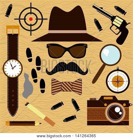 Private detective or investigator vector flat modern retro collection
