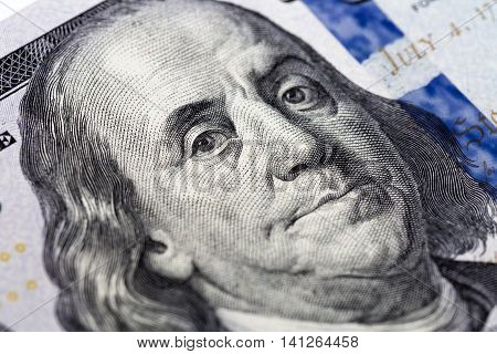 Benjamin Franklin, face on a one hundred dollars banknote