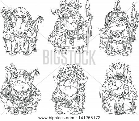 Cartoon funny Indians coloring. Characters. Indians set. Isolated objects. Made black outline.