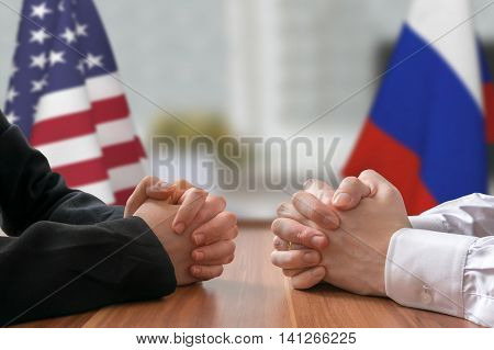 Negotiation Of Usa And Russia. Statesman Or Politicians With Cla