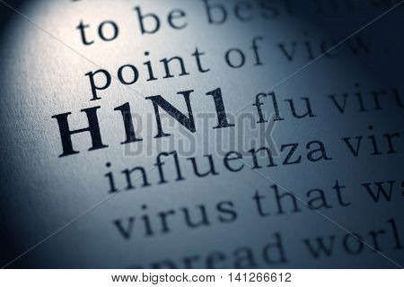 Fake Dictionary Dictionary definition of the word H1N1 flu.