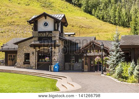 Vail, USA - September 10, 2015: Swiss Style Decorated Building for Ski Lift in Colorado