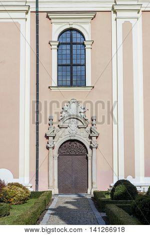 Door to Saint Mikael church in Sandomierz Poland.