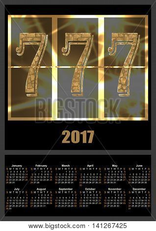 Calendar 2017 template with lucky seven slot machine font illustration
