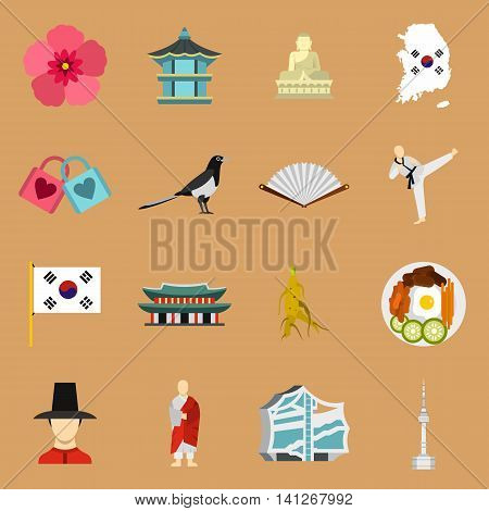 Flat South Korea icons set. Universal South Korea icons to use for web and mobile UI, set of basic South Korea elements isolated vector illustration