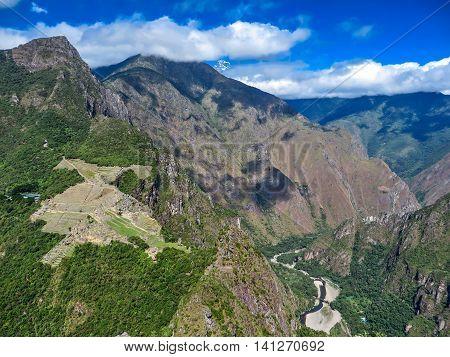 A view of Machu Picchu in the mountains in Peru, South America