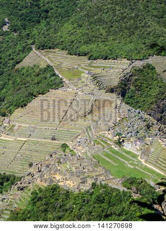 Machu Picchu World Heritage site from above in the mountains in Peru