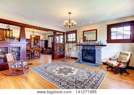 Beautiful old craftsman style home living room interior with rug poster