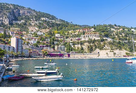 Summer Coastline In Villefranche-sur-mer, City Of Nice, France