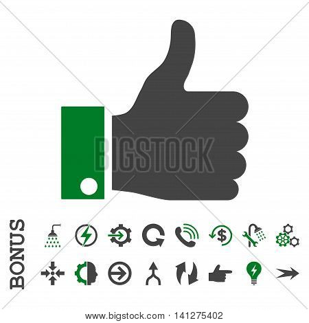 Thumb Up vector bicolor icon. Image style is a flat iconic symbol, green and gray colors, white background.