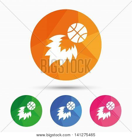 Basketball fireball sign icon. Sport symbol. Triangular low poly button with flat icon. Vector poster