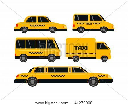 Transport set of taxi vector objects silhouette on white background. Taxi transport travel cab vehicle shipping tourist silhouette. Passenger street yellow road delivery taxi transport.