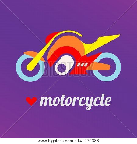 Modern motorbike flat vector icon with heart shape and text Motorcycle. I love motorcycle.