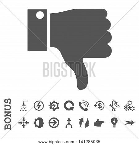 Thumb Down vector icon. Image style is a flat iconic symbol, gray color, white background.