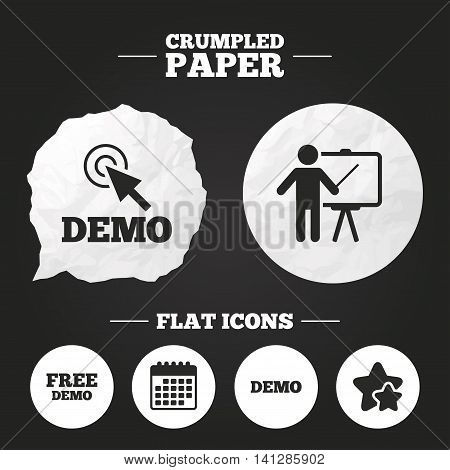 Crumpled paper speech bubble. Demo with cursor icon. Presentation billboard sign. Man standing with pointer symbol. Paper button. Vector