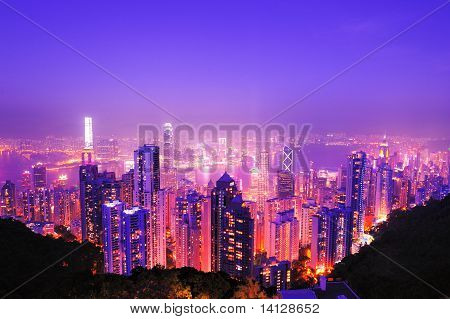 Victoria Peak In Twilight Scene