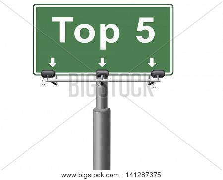 top 5 charts list pop poll result and award winners chart ranking music hits best top five quality rating prize winner road sign billboard  3D illustration