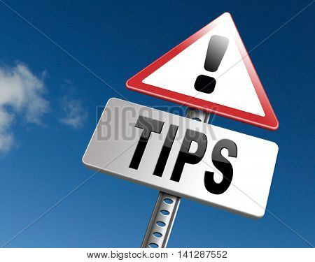 tips helpful tip and trick hot idea clue and user tricks 3D illustration