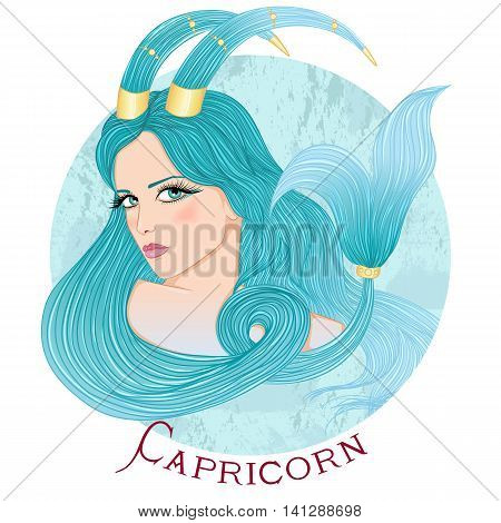 Zodiac. Vector illustration of the astrological sign of Capricorn as a beautiful girl with long hair. Round shape