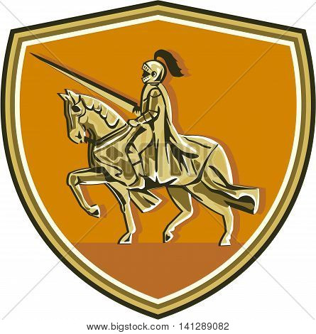 Illustration of knight in full armor with lance riding horse steed viewed from the side set inside shield crest done in retro style.