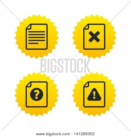File attention icons. Document delete symbols. Question mark sign. Yellow stars labels with flat icons. Vector