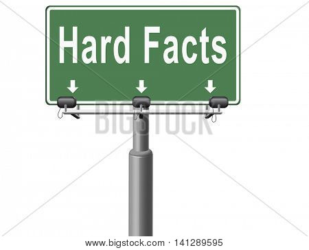 hard facts or proof, scientific proven fact, road sign billboard. 3D illustration