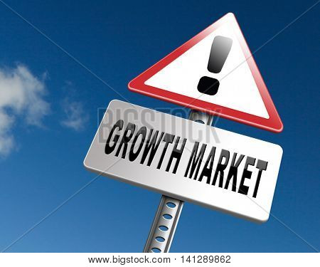 growth market economy growing emerging economies in international and global leading countries, road sign billboard. 3D illustration