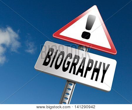 Bio button or biography leading to the story of your life about sign my life story resume 3D illustration