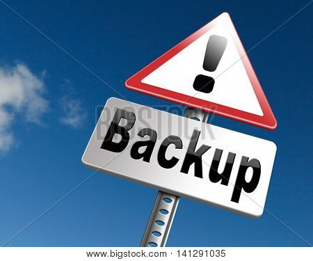 backup data document or file online on copy in the cloud on a harddrive disk on a computer or server for file security 3D illustration