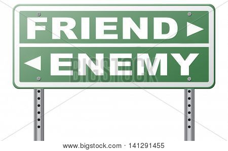 friend enemy best friends or worst enemies friendship 3D illustration