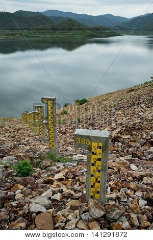 ChiangMai Thailand. June 12-2016: The shortage of water supply in irrigation dam that became from rainlessness represents in low level of reservoir.