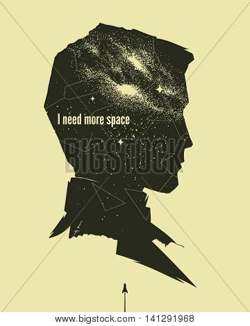 Vintage astronomical poster with man profile