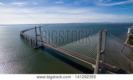 Vasco de Gama bridge aerial view Lisbon