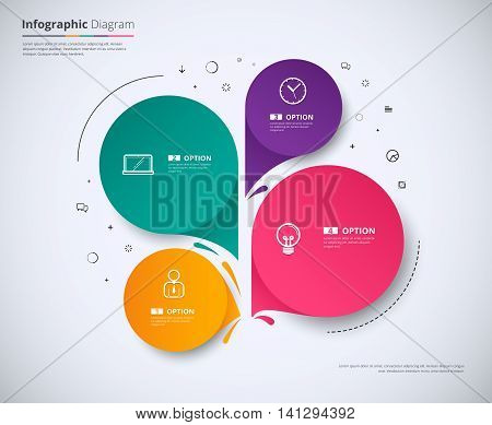 Infographic Template Design With 4 Choice. Circle Infographic Concept. Vector Stock.