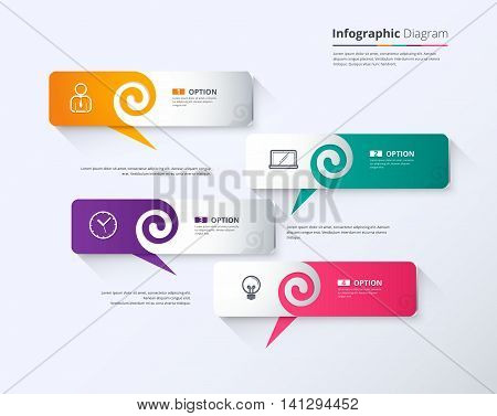 Balloon speech infographic template. vector stock. eps 10.
