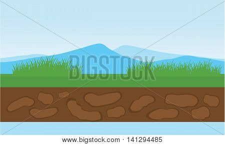 Moountain and grass scenery vector illustration stock