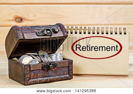 The Save money and coins retirement concept.