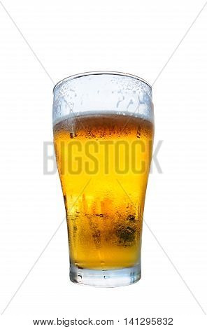 Glass of beer isolated on white background with clipping path