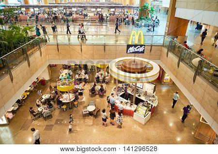 SINGAPORE - CIRCA NOVEMBER, 2015: McCafe in Singapore Changi Airport. Changi Airport  is the primary civilian airport for Singapore and one of the largest transportation hubs in Southeast Asia.