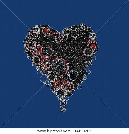 On blue black heart