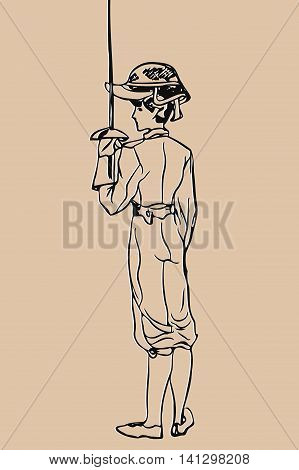Sketch girl fencers with raised protective mask on her head holding a rapier in his hand on a light background