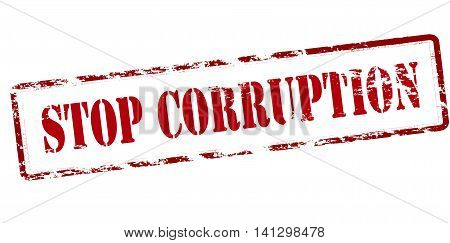 Rubber stamp with text stop corruption inside vector illustration