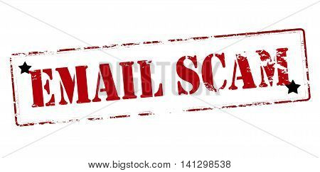 Rubber stamp with text email scam inside vector illustration