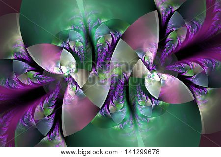 Abstract intricate floral ornament on black background. Fantasy green purple pink and grey fractal design for posters wallpapers or t-shirts. Digital art. 3D rendering.